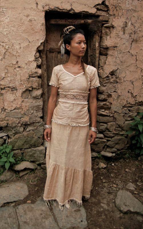 画像1: 手織りフェアトレード カディコットン ナチュラルジプシーフリンジスカート*無染色*無地*ハンドメイド*ボヘミアン (1)