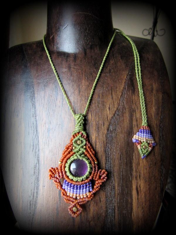 画像1: まんまるアメジスト天然石デザインネックレス*紫水晶*マクラメ*ハンドメイド*アメシスト (1)
