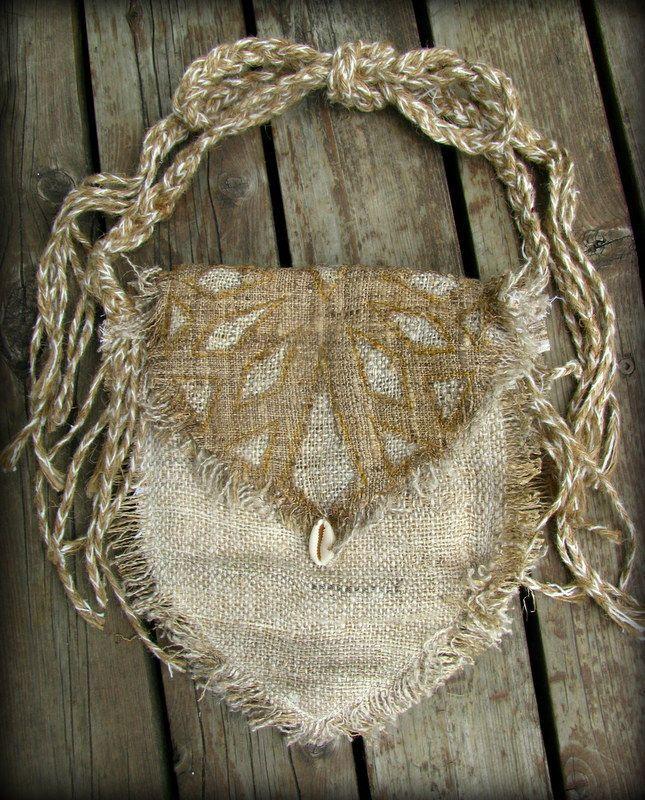画像1: 再入荷☆ヒップバッグにもなる地球に優しい手紡ぎ・手織りヘンプ&ローシルクのhandmade妖精バッグ/ウエストバック/ピクシーバック (1)