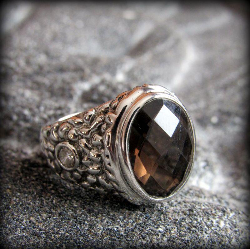 画像1: 高品質 魔よけ石スモーキークォーツ指輪 アンティーク調シルバーリング13号*煙水晶パワーストーン天然石 (1)