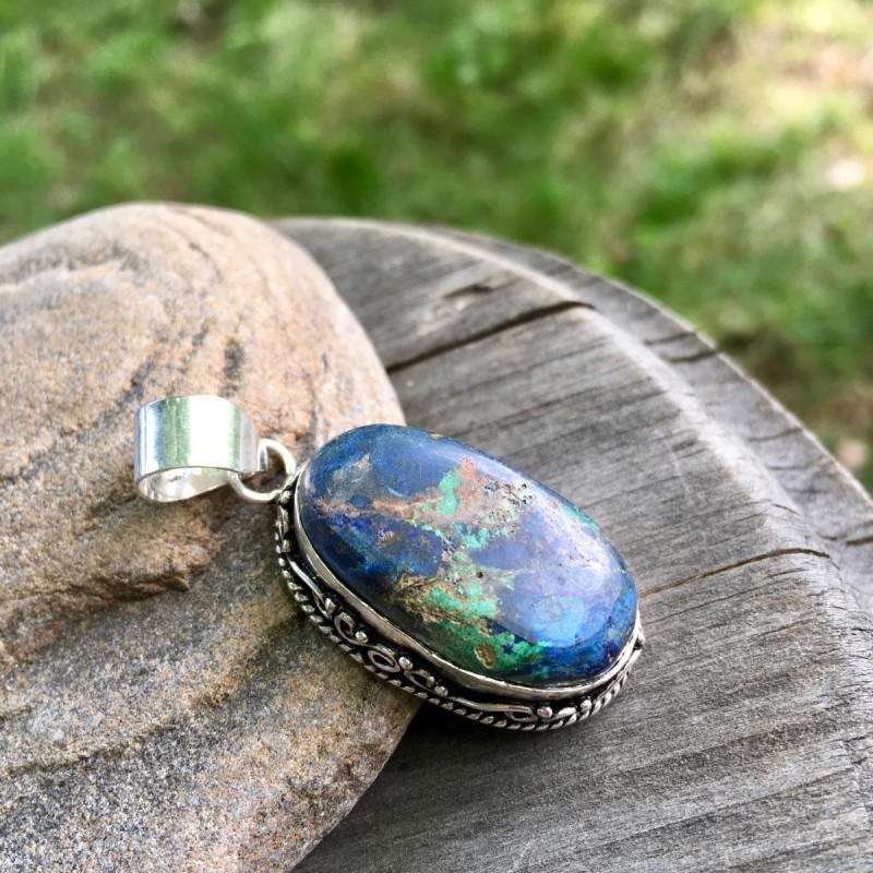 画像1: 青い地球色♪天然アズライト・マラカイト/アズロマラカイトのペンダントトップ*ネイティブアメリカン*パワーストーン天然石アクセサリー (1)