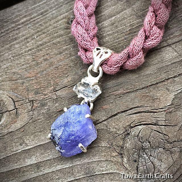 画像1: バイレットブルー高品質タンザナイト原石&ハーキマーダイヤモンド ペンダントトップ 天然石パワーストーン アクセサリー (1)