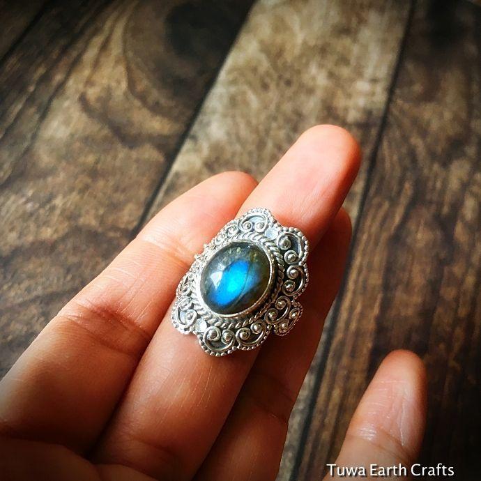 画像1: 1点物 高品質ラブラドライト シルバーリング ブルーシラー指輪14号 エスニックデザイン 天然石パワーストーンアクセサリー (1)