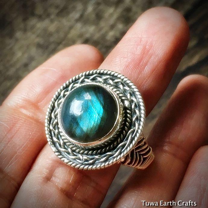 画像1: 1点物 高品質ラブラドライト シルバーリング ブルーシラー エスニックデザイン 指輪14号 天然石パワーストーンアクセサリー (1)