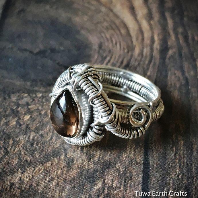 画像1: 【魔よけ天然石】スモーキークォーツ指輪14号 1点ものワイヤーアート リング*スターリングシルバー 煙水晶パワーストーンアクセサリー (1)