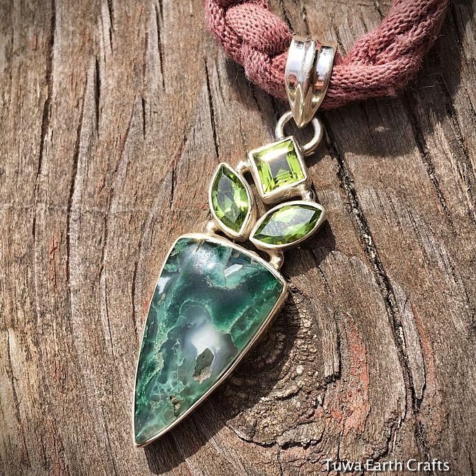 画像1: 1点もの 高品質ムトロライト&宝石質ペリドット ペンダントトップ*スターリングシルバー天然石ジュエリー (1)
