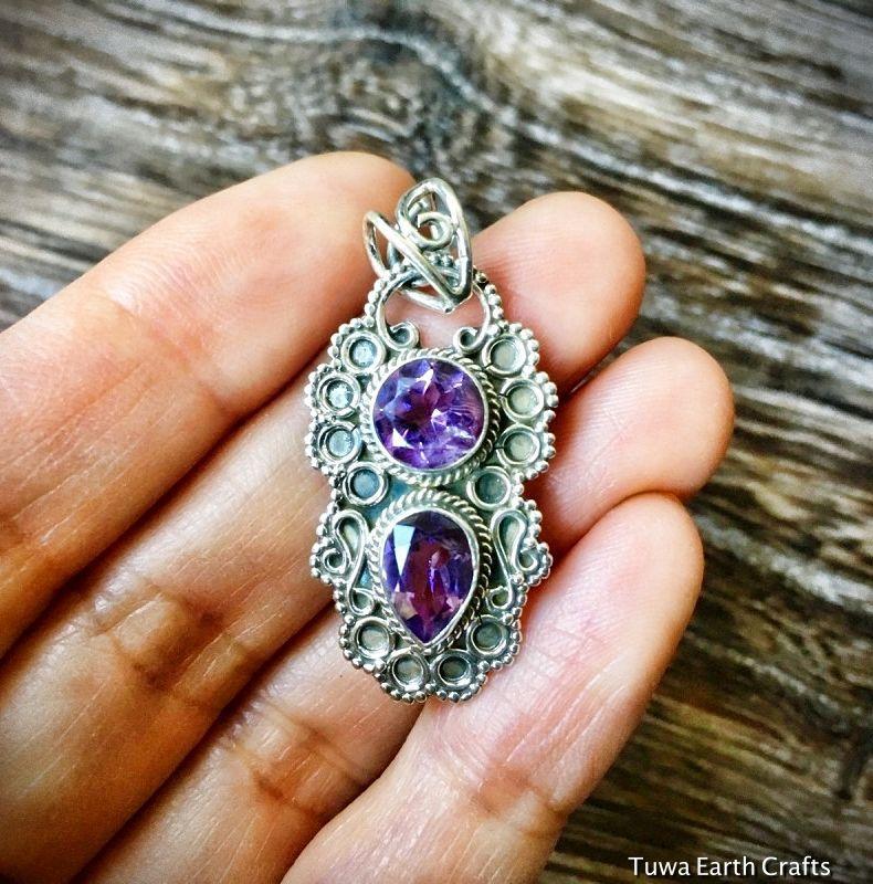 画像1: 1点物 カット入りきらきらアメジスト ペンダントトップ シルバー925 紫水晶 パワーストーン天然石 (1)