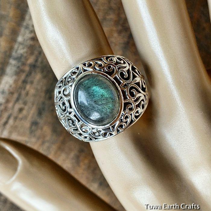 画像1: 1点物 ラブラドライト(カナダ産)シルバーリング 個性的デザイン 指輪 16号 天然石パワーストーンアクセサリー (1)